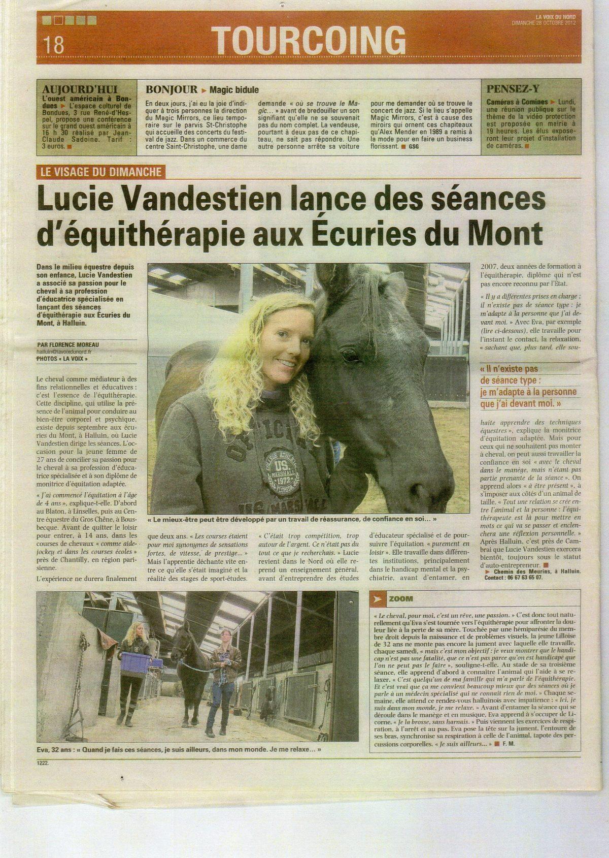 Lucie Vandestien lance des séances d'équithérapie aux Écuries du Mont